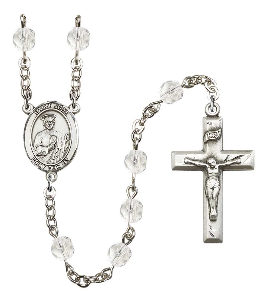 Silver Plate Rosary features 6mm Crystal Fire Polished beads. The Crucifix measures 1 3/8 x 3/4. The centerpiece features a St. Jude Thaddeus medal. by F A Dumont