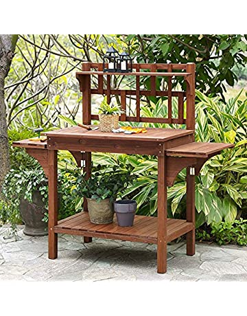 Garden Potting Bench With Storage Shelf Wood Outdoor Large Work Table Plans  Gardening Planting Station