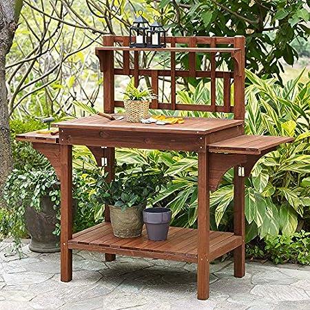 Amazon Com Garden Potting Bench With Storage Shelf Wood Outdoor