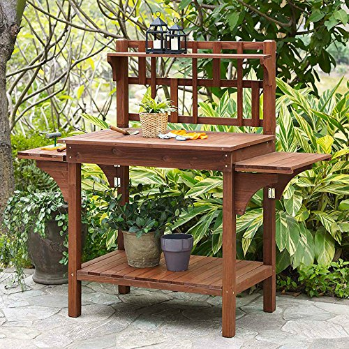 Garden Potting Bench with Storage Shelf Wood Outdoor Large Work Table plans Gardening Planting Station- Brown Potting Bench Plan