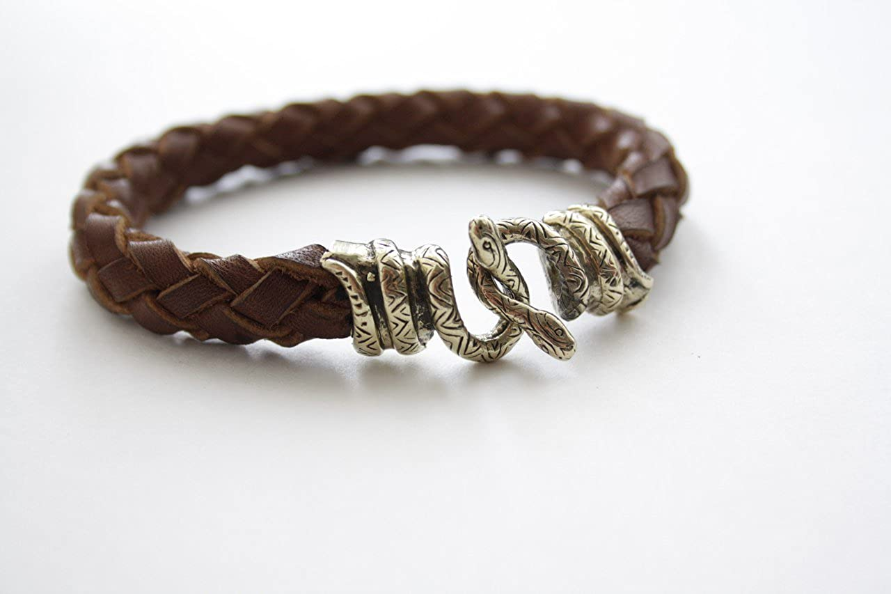 Viking Bracelet Snakes Bronze Leather Vintage Handmade