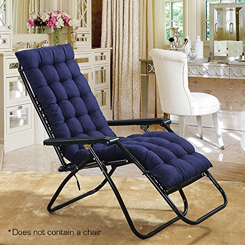 Outdoor Sun Lounger Cushion Patio Garden Furniture Thick Padded Bed Recliner Relaxer Chair Topper Blue