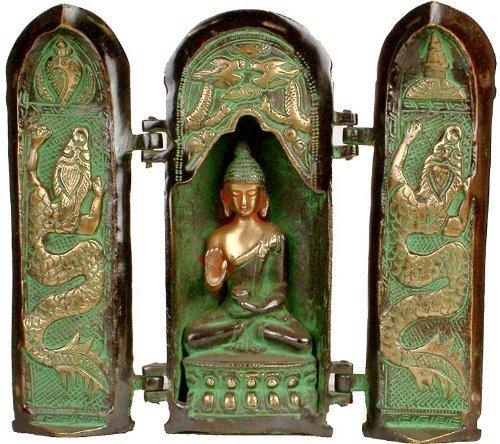 Aapno Craft Ancient Shrine Buddha Statue Brass Abhaya/Blessing Buddha Sculpture with Folder Door Embossed Dragon Collectible Buddhist Decor
