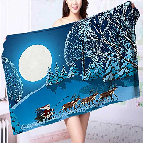 also easy Cotton Bath Towel Santa in Sleigh a Holy Night with Full Snowy Winter Theme Night Super Soft L39.4 x W19.7 INCH by also easy