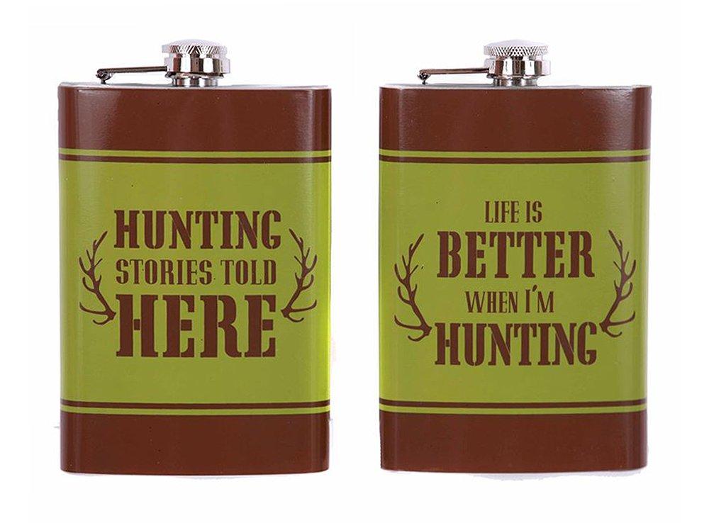 選ぶなら セットの2 Better Hunting B0797YCJGC Hunting Sayingsステンレススチール8オンスグリーン/ブラウンFlasksギフトボックスで、