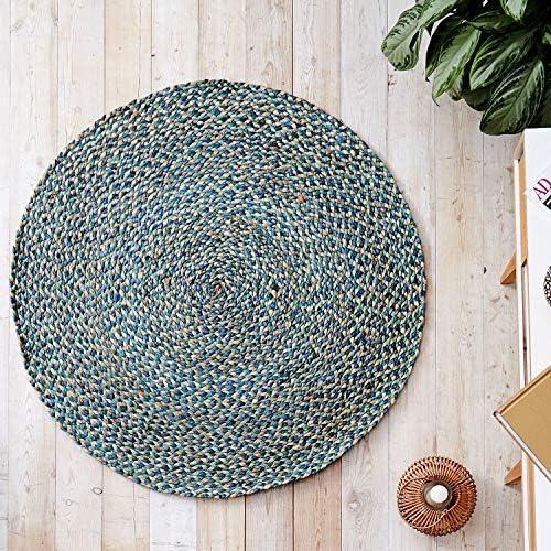 Handmade Braided Round Natural Fiber Jute Rug Spectrum Blue Green, 6 feet Diameter
