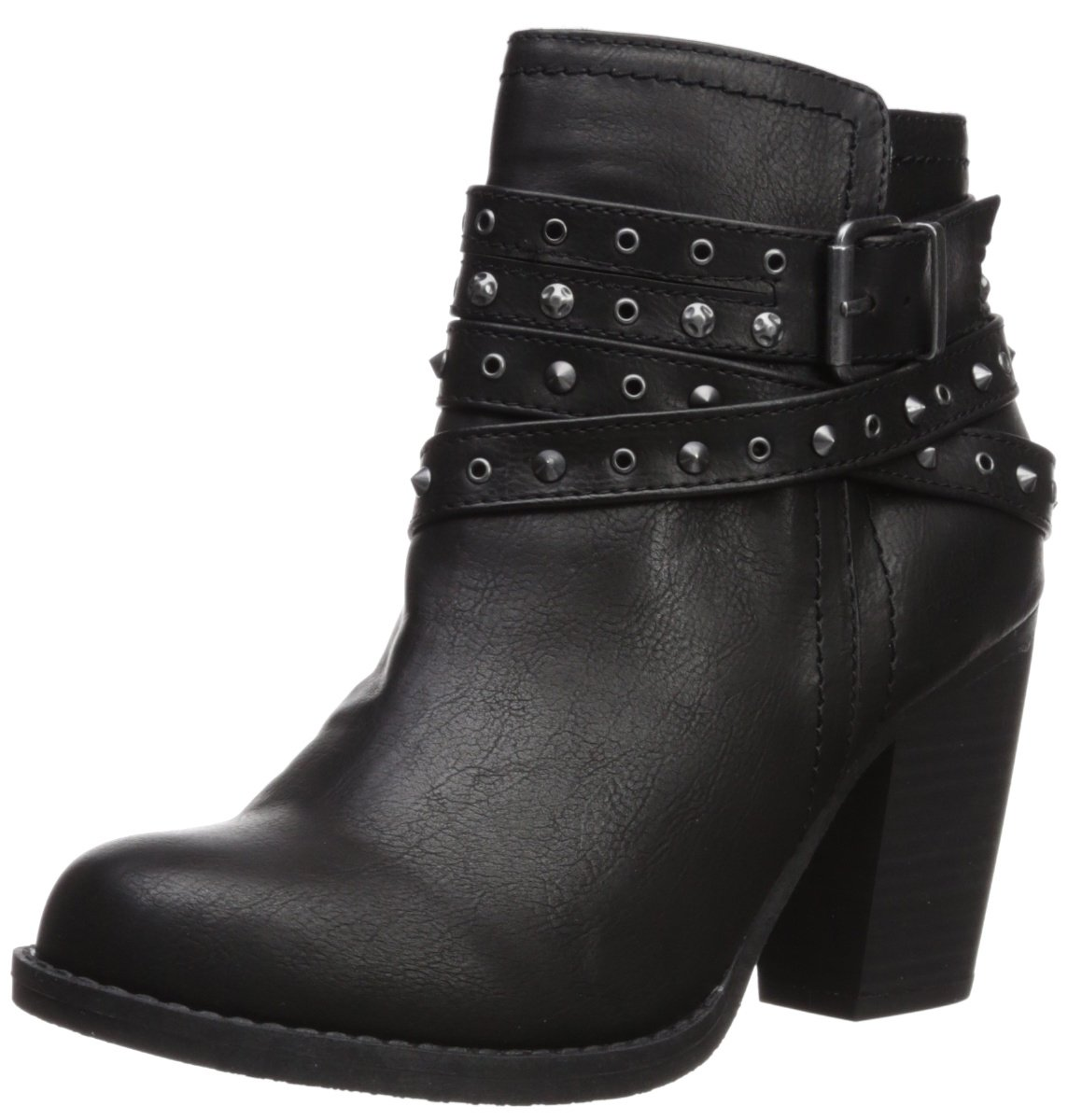 Sugar Women's Poppies Studded Multi Strap Fashion Boot B0765793FY 6 B(M) US|Black Smooth