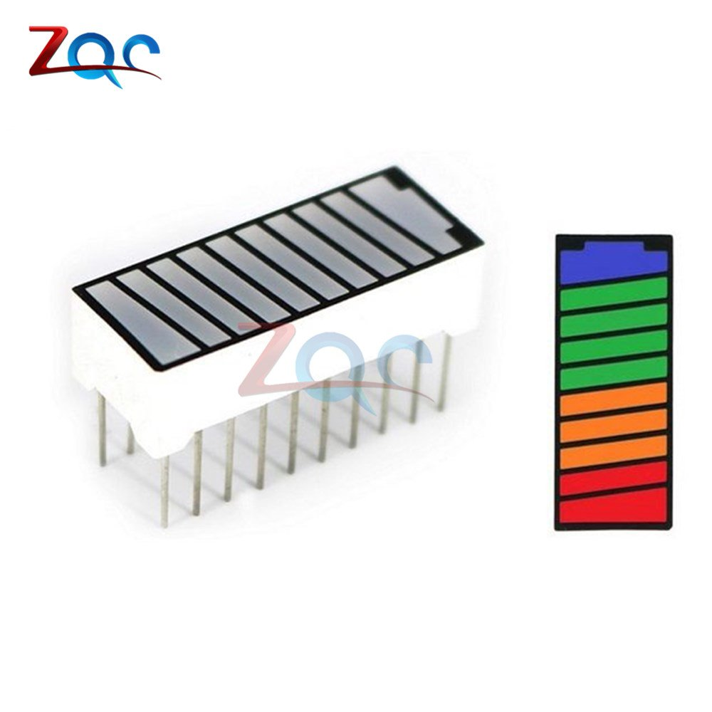 5pcs 10 Segment 4 Color LED Light Battery Level Bar Graph Power Display Indicator Module Red Yellow Green Blue Multi-Color 5V Reland Sung