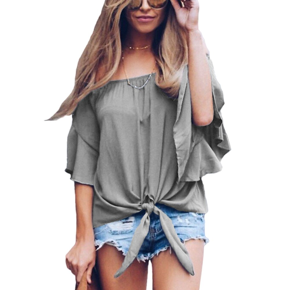 da2f4893822f5 Eiffel Women s Off Shoulder Lace Trim Bell Sleeve Blouse Tie Knot T-Shirt  Crop Tops at Amazon Women s Clothing store
