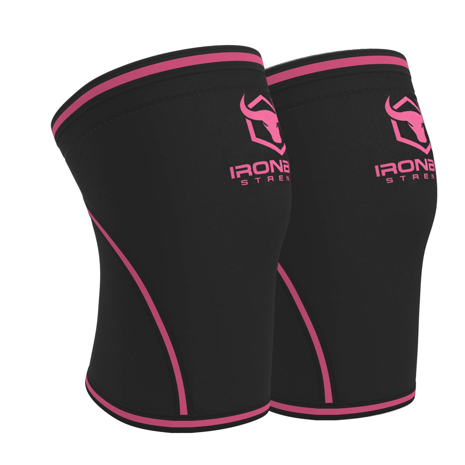 Knee Sleeves 7mm (1 Pair) - High Performance Knee Sleeve Support For Weight Lifting, Cross Training & Powerlifting - Best Knee Wraps & Straps Compression - For Men and Women (Black/Pink, Large) by Iron Bull Strength