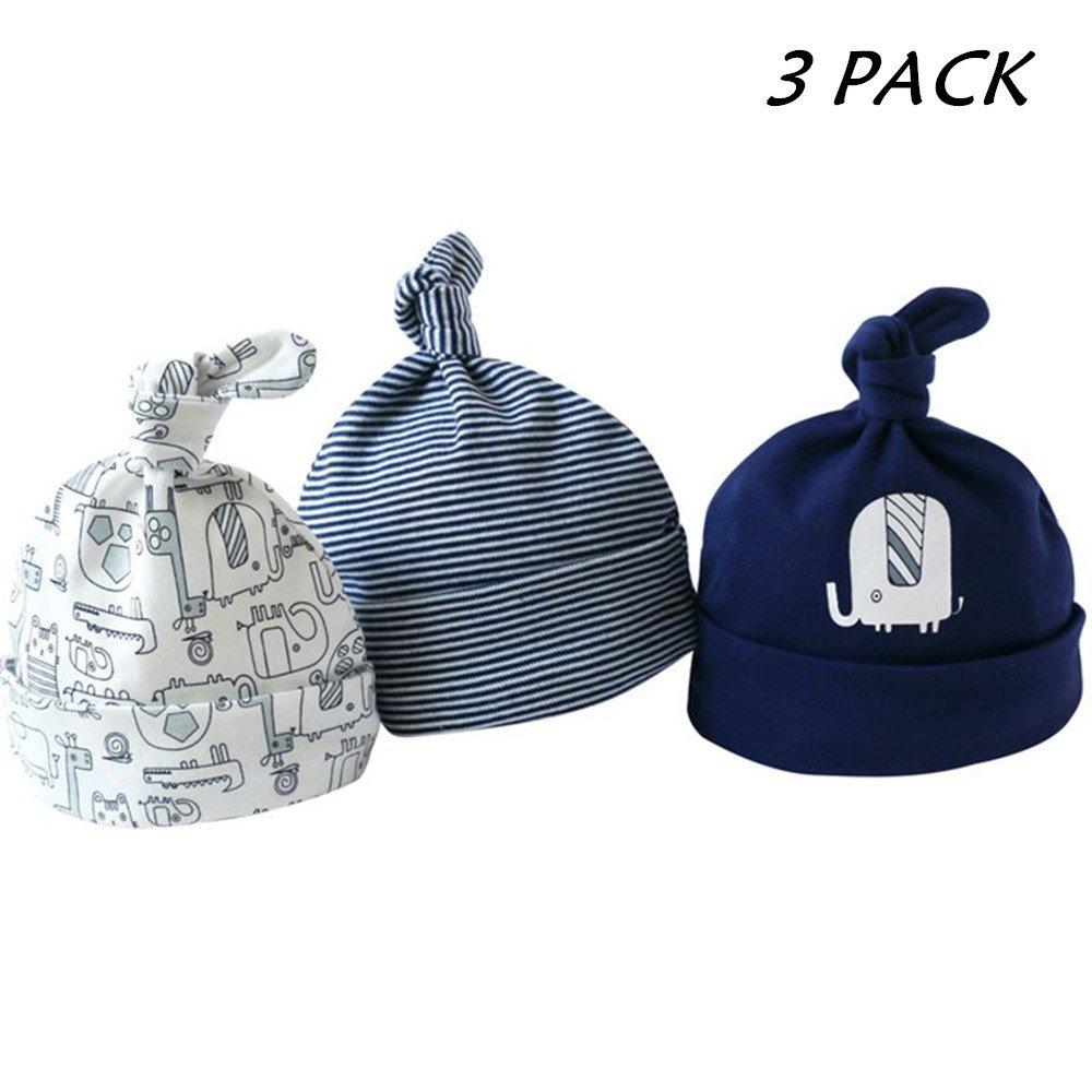 Casa Cappello Unisex 3 Pezzi Neonato Berretto di Cotone , Berretto Cute Baby Hat dei Bambini per Bambino Copricapo Calotta a strisce Beanie Cap
