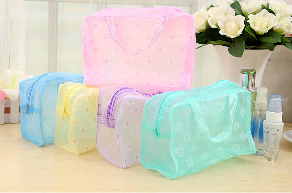 Nuevo® Dealglad 5 piezas mtong goliton Floral portátil bolsa de viaje de tocador cosmética maquillaje transparente de almacenamiento organizador para lavar la bolsa (color al azar) DealgladUK