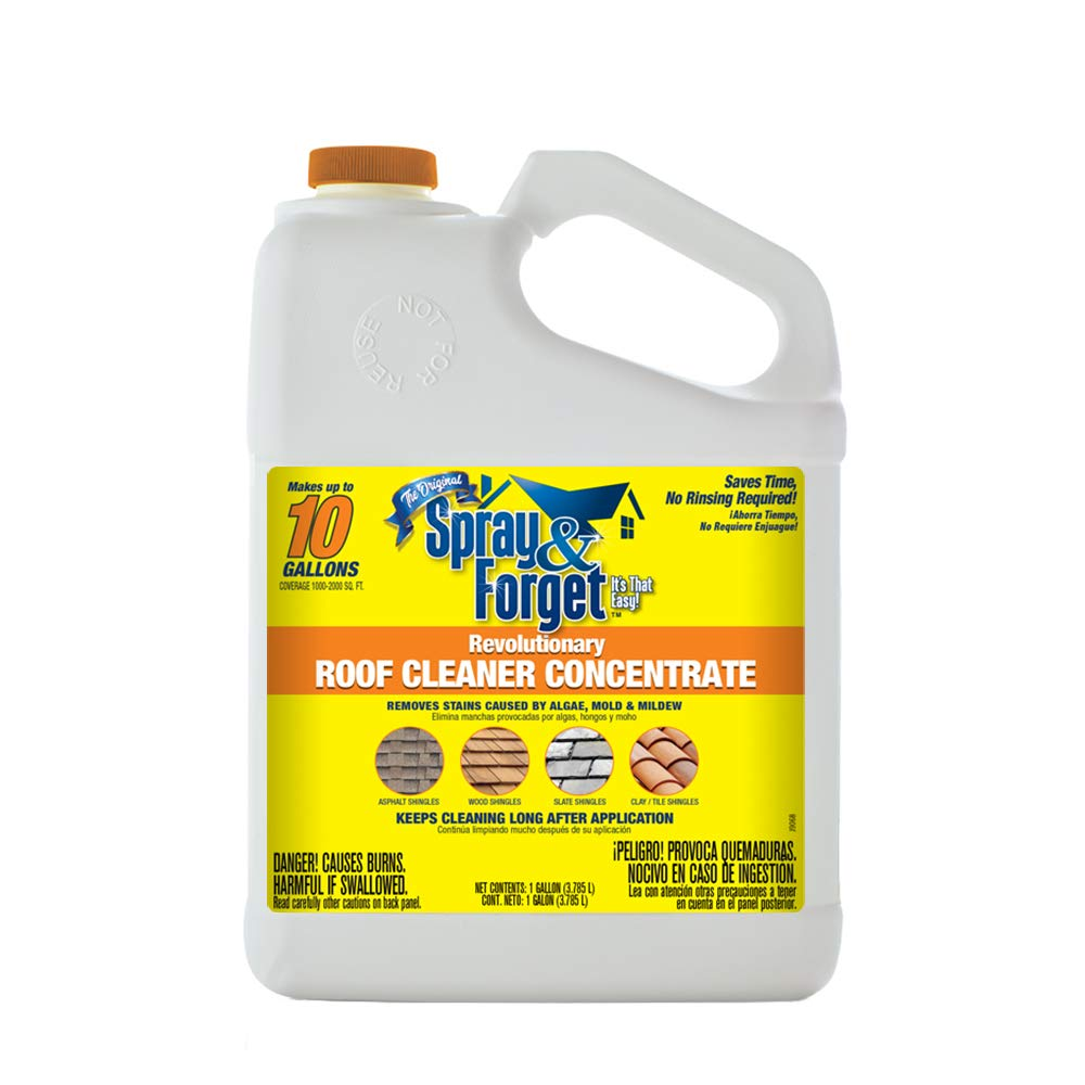 Spray & Forget Revolutionary Roof Cleaner Concentrate, 1 Gallon Bottle, 1Count, Outdoor Cleaner