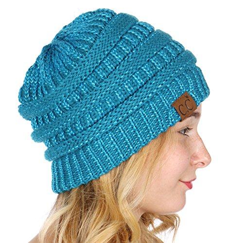 SERENITA C.C Unisex Soft Stretch Thick Slouchy Knit Oversized Beanie Cap Hat Teal (Metallic Fedora Hat)