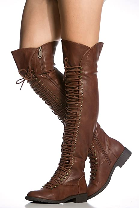 32ab766f2d587 Cicihot Brown Faux Leather Thigh High Combat Boots (6.5)