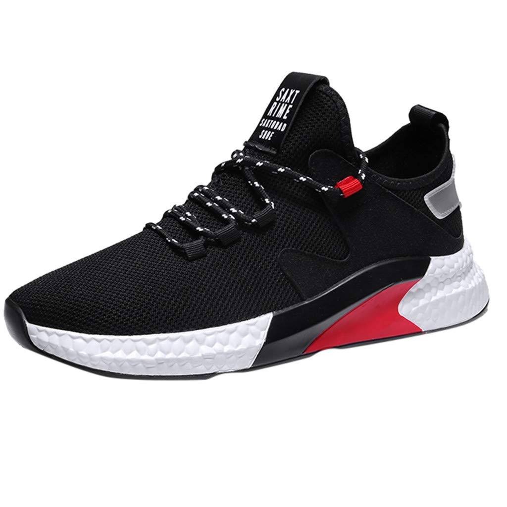 Fashion Casual Outdoor Sneakers Running Shoes,Men Mesh Shoes Low-Top Student Shoes Breathable Running Sneakers Black