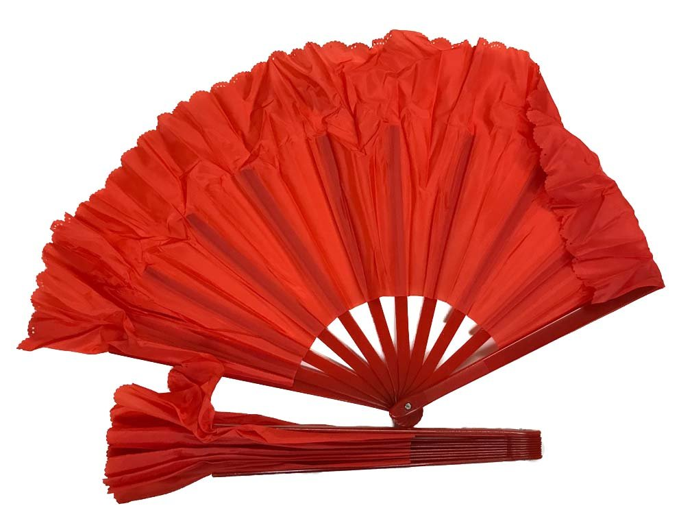 Left and Right Handed Dance Fans, set of 2 (red)