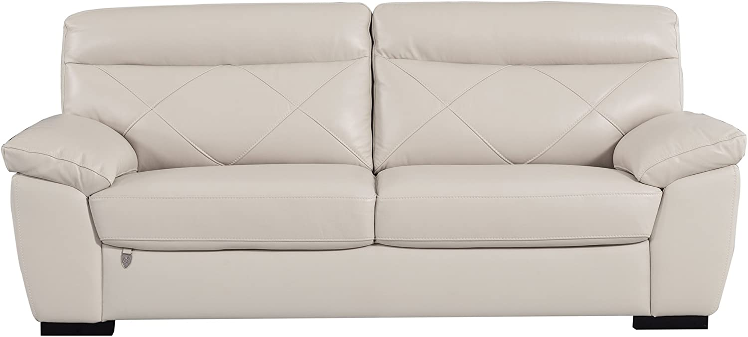 """American Eagle Furniture Modern Contemporary Italian Leather Upholstered Living Room Sofa, 82"""", Light Gray"""
