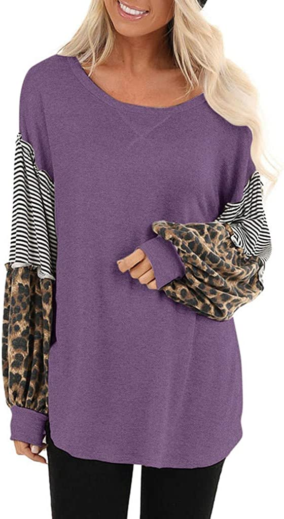 FEDULK Womens Blouse Leopard Striped Print Bubble Sleeve Splicing Casual Tops Pullover