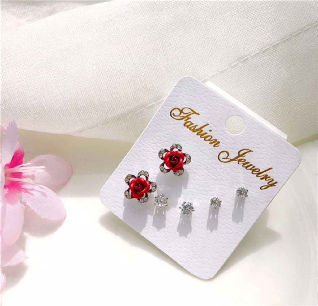 Three-Piece Fashion Rose Earrings Hypoallergenic Zircon Simple Female Ear Jewelry,A-3 by PG-kisseller (Image #2)