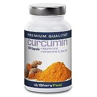 Curcumin Kapseln mit Bioperine - Curcuma-Extrakt Hochdosiert - 95% Curcumin-Gehalt Ohne Magnesiumstearate - Kurkuma + Piperin (Pfefferextrakt) - 100 Vegane Kapseln - Nahrungsergänzung von GloryFeel