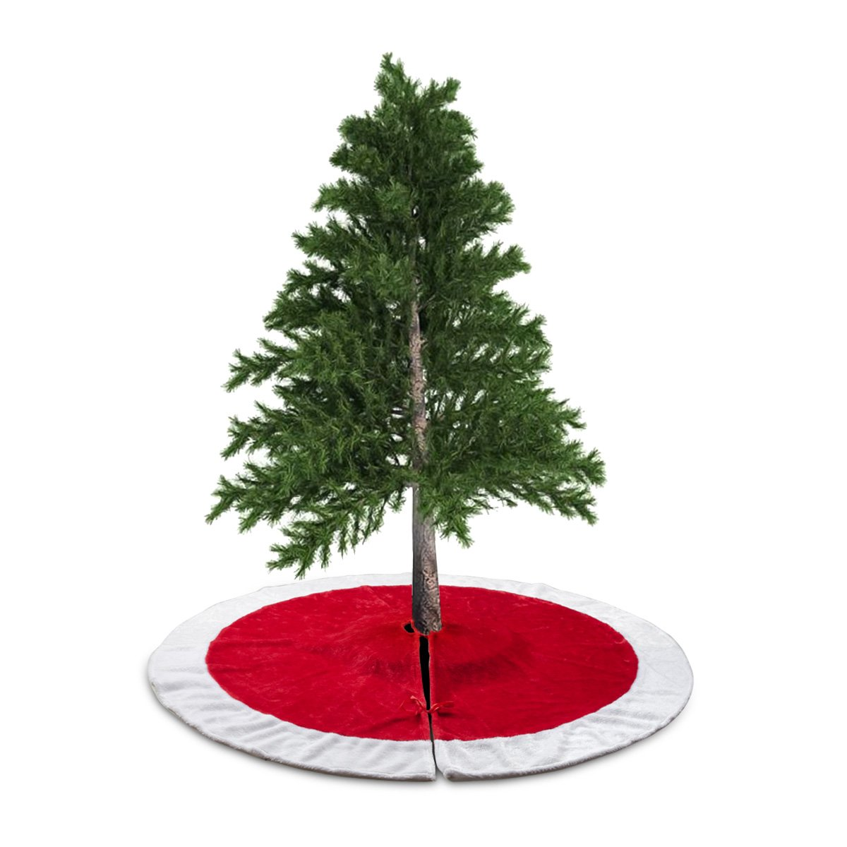 D-FantiX 48 Inch Traditional Velvet Christmas Tree Skirt Red and White Holiday Christmas Decorations Large