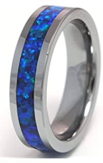 6mm synthetic opal tungsten ring with a brilliant display dark blue fire