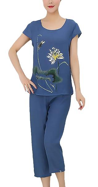 Pijamas Mujer Tops+ 3/4 Pantalones Dos Piezas Tallas Grandes Niñas Ropa Elegante Verano Manga