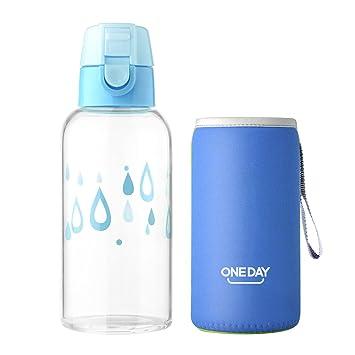 ONE DAY Botella de Agua de Cristal Vidrio Deporte Portable Libre de BPA, 350ml,