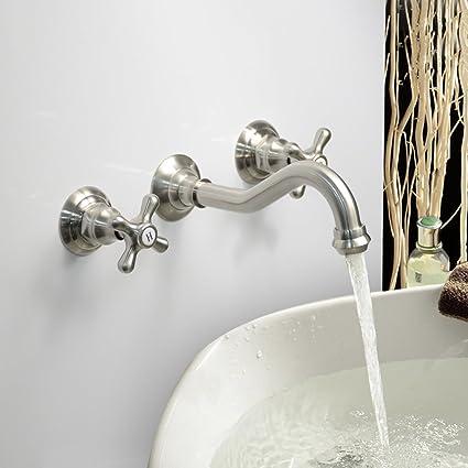 LightInTheBox Modern Bathroom Sink Faucet Wall Mount Bathtub Faucets Cross  2 Handles Long Curve Spout Faucet