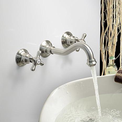Pleasing Lightinthebox Modern Bathroom Sink Faucet Wall Mount Bathtub Faucets Cross 2 Handles Long Curve Spout Faucet Vessel Sink Bath Faucet Interior Design Ideas Helimdqseriescom