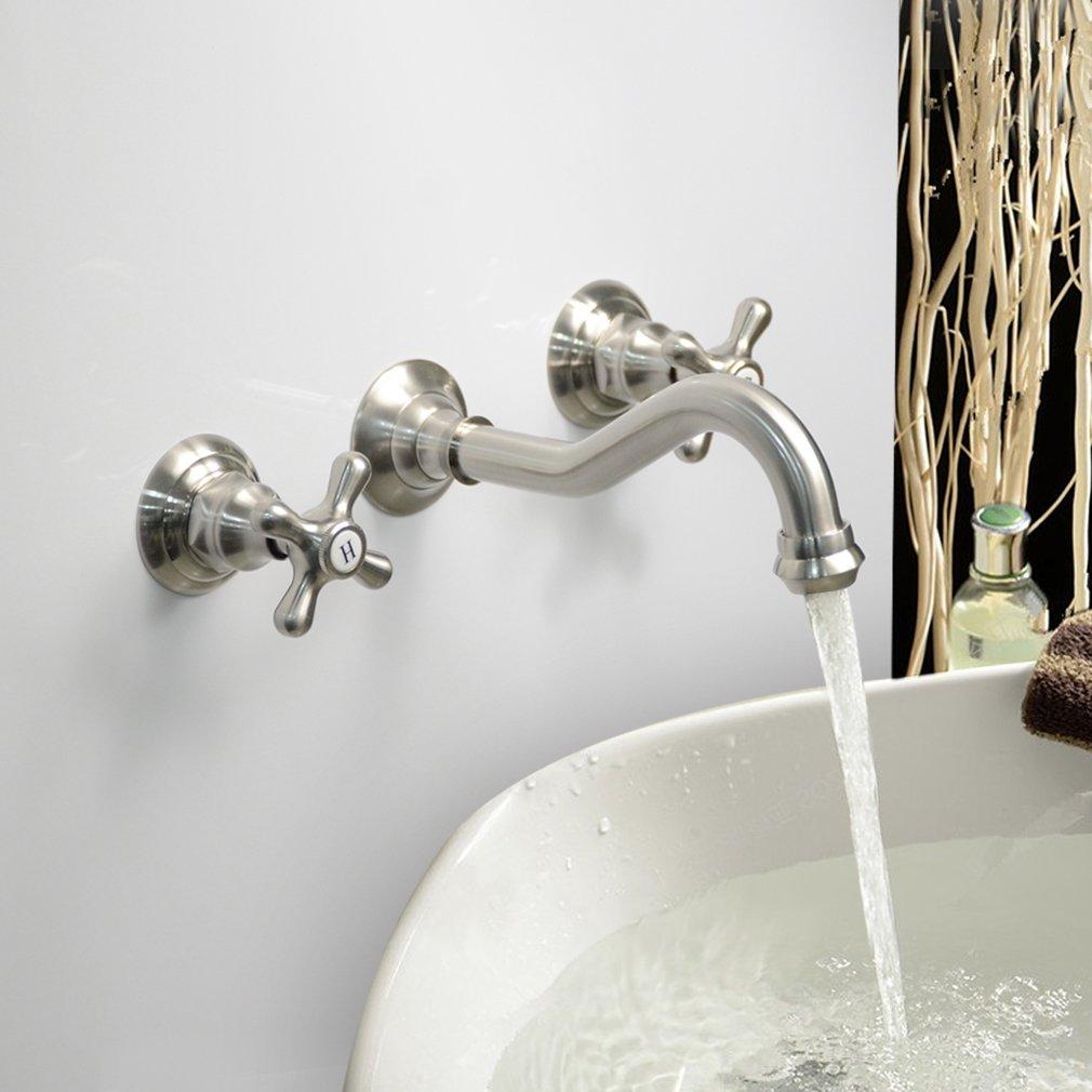 LightInTheBox Modern Bathroom Sink Faucet Wall Mount bathtub faucets Cross 2 Handles Long Curve Spout Faucet Vessel Sink Bath faucet by LightInTheBox