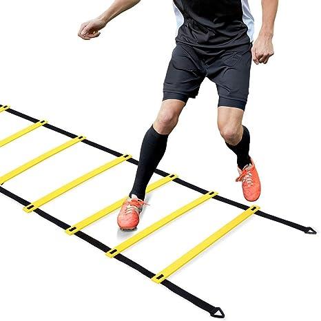 Entrenamiento de Agilidad de Velocidad, Agility Ladder Speed Training Escaleras de Ejercicio para fútbol Boxeo Footwork Deportes con Bolsa de Transporte 20 pies 12 peldaños (Amarillo): Amazon.es: Deportes y aire libre