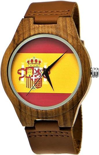 Hecha a mano de madera de Alemania® Designer Hombre España Bandera Reloj mujer RELOJ Certificado