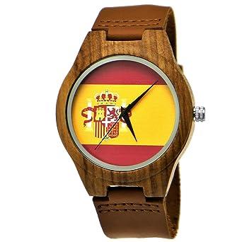 Hecha a mano de madera de Alemania® Designer Hombre España Bandera Reloj mujer RELOJ Certificado ...