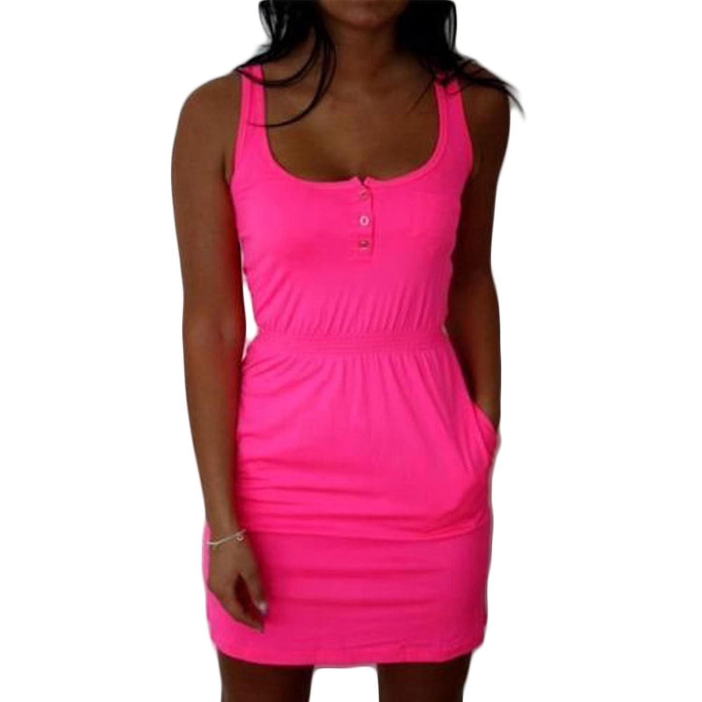 Frauen Mode Rundkragen ärmellos Taille Elastisch Beiläufige Vest Kleid Minikleid Beachwear Freizeitkleid Strandkleider Sweatkleider