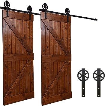 243CM/8FT puertas acero puerta corrediza de granero Hardware Herraje para Puerta de Granero Corredera de: Amazon.es: Bricolaje y herramientas