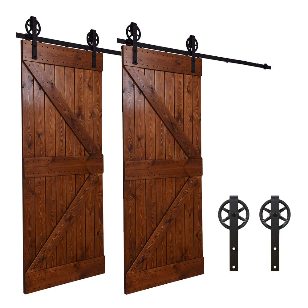 Puerta corrediza de granero Hardware Equipo Puerta sencilla 10.5FT//320cm Sliding Barn Wood Door Hardware Closet Track Kit Single Door