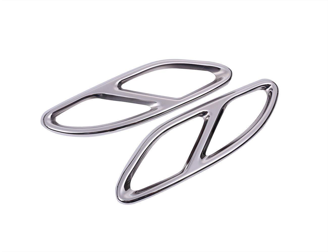 Accessorio per veicolo auto esterno, per CLASSE E W213 W205 COUPE W246 GLC W176 GLS GLS CLA, uscita per tubo gola Uscita coperchio per telaio posteriore Auto esterno Trim Acciaio inox Argento, 2 pezzi / set ACCEMOD