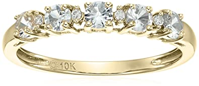 40f96beaa5d3e 10k Yellow Gold White Sapphire and Diamond Accented Stackable Ring, Size 7