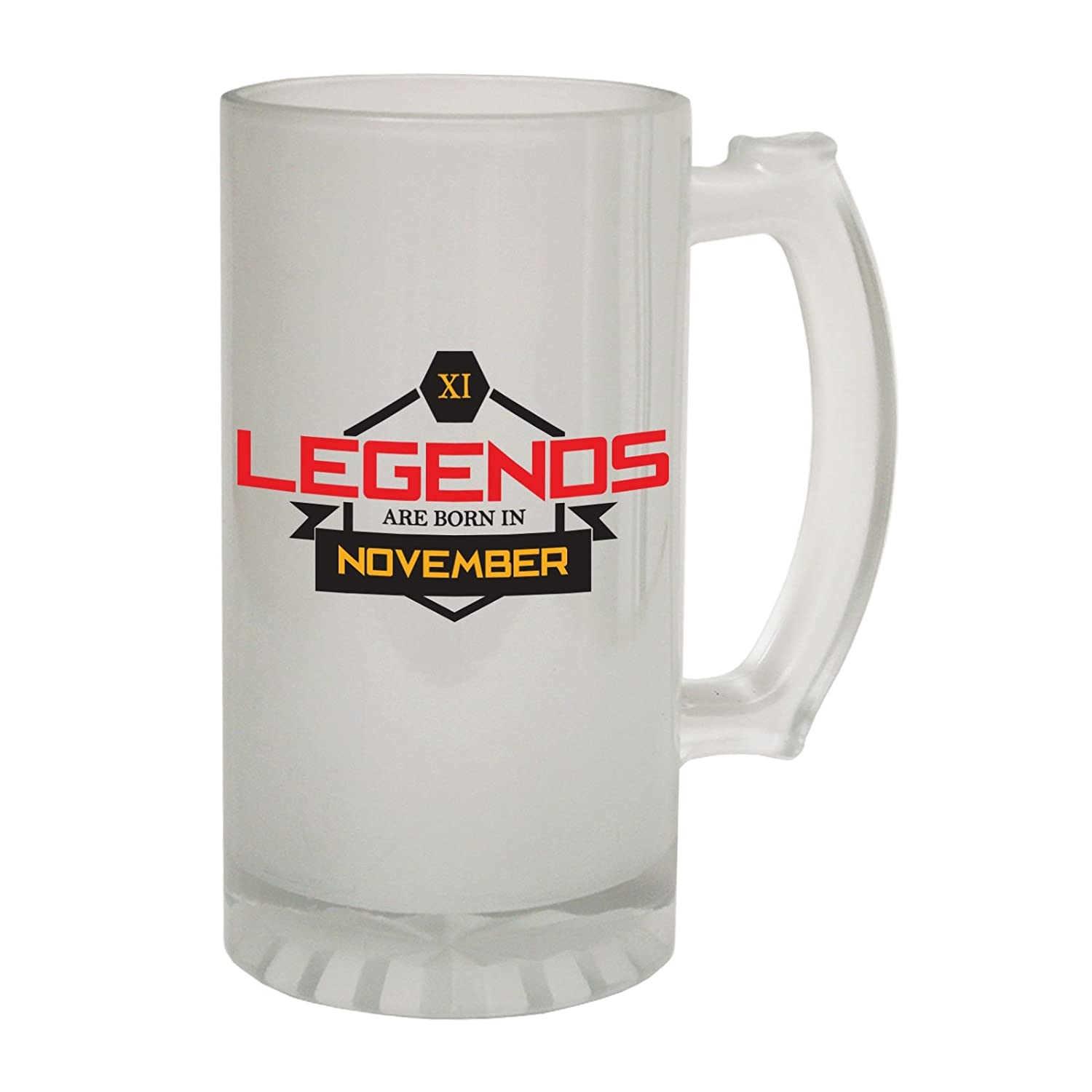 123t Frosted Glass Beer Stein - Legends Born November Age - Funny Novelty Birthday