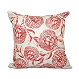 E by design O5PFN493OR15OR9-18 18 x 18 Antique Flowers Floral Orange/Red Outdoor Pillow