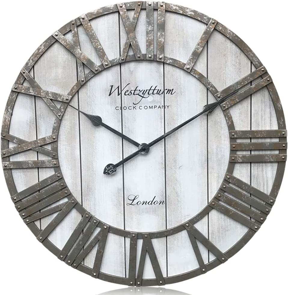 Amazon Com Westzytturm Extra Large Wall Clock Wood Rustic Farmhouse Vintage Oversized 3d Roman Numeral Decorative Wall Clocks For Living Room Kitchen Office Mantel Grey 24 Inch Kitchen Dining