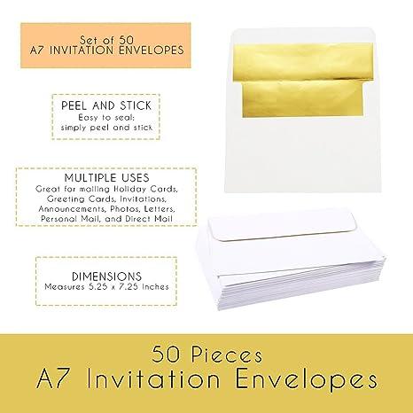amazon com 50 pieces a7 invitation envelopes gold foil lined