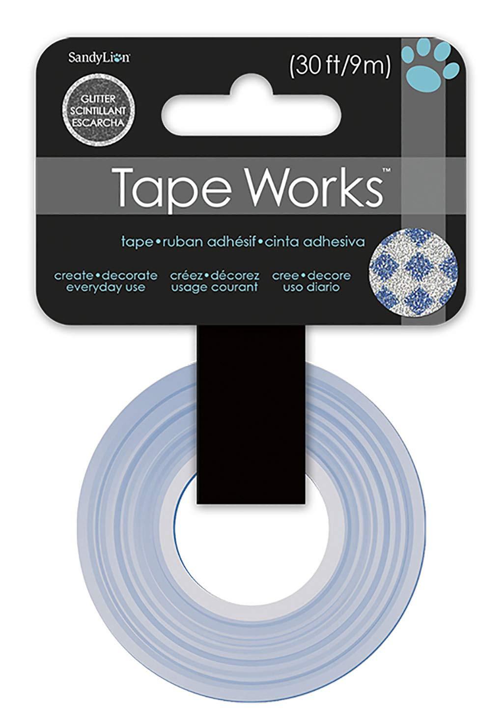Tape Works Sbgltape Silver w//Blue Diamonds