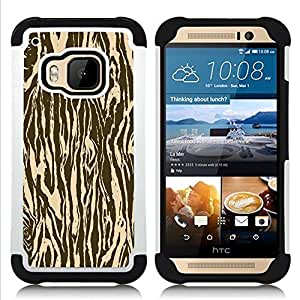 BullDog Case - FOR/HTC ONE M9 / - / BROWN ZEBRA PATTERN ANIMAL WOOD /- H??brido Heavy Duty caja del tel??fono protector din??mico - silicona suave