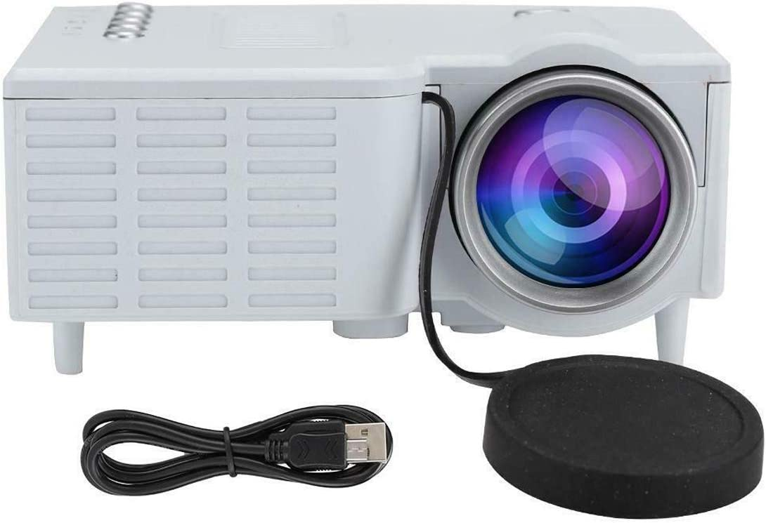 Mini Portable Video Projector as Home Theater Wireless Outdoor LED Small Cinema for Phone (White)