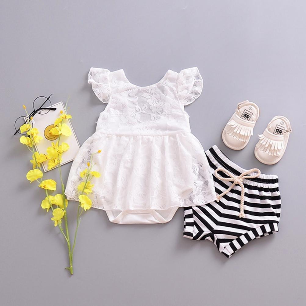 KONFA Toddler Baby Girls Solid Color Lace Dress,Suitable For 0-24 Months,Little Princess Elegant Sleeveless Skirt Set