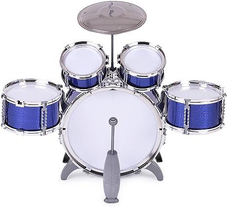 ammoon Enfants Set Batterie Jouets Musical Instrument 5 Drums avec Petits Cymbal Tabouret Pilons pour Gar/çons Filles Bleu