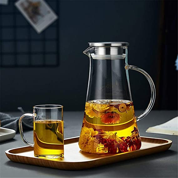 Teapot Borosilicate MWPO 2.0 L//L Water Pot Container Suitable for Juice//Cold Water//Hot Coffee Glass Heat Resistance Kettle Single Pot, No Cup Jug Water Jug with Lid